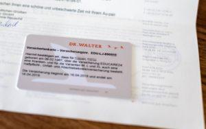 ドイツ留学保険 ドクターヴァルター 保険証