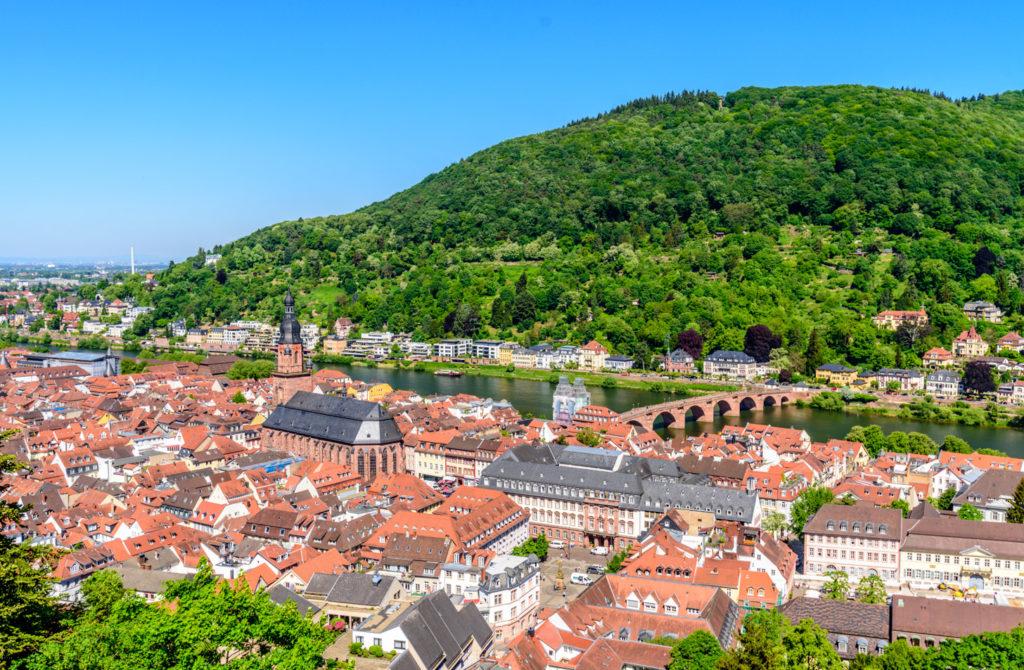 ハイデルベルクの旧市街を見下ろす景色