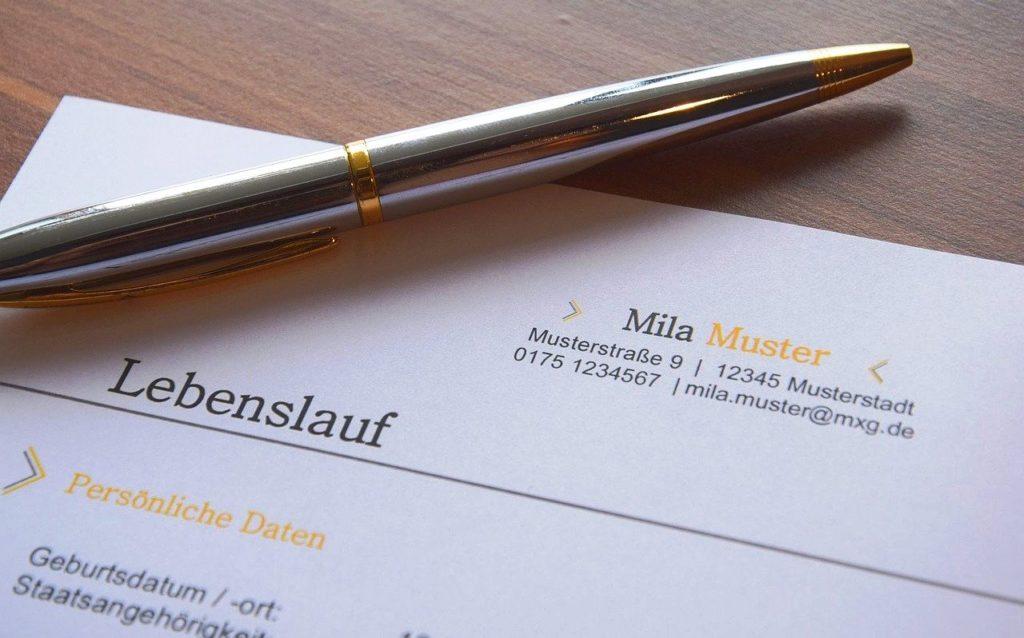 ドイツでアルバイト に応募 - 履歴書の作成