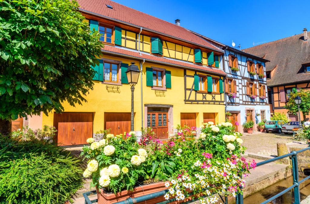 水路と花壇の後ろの綺麗な家屋群