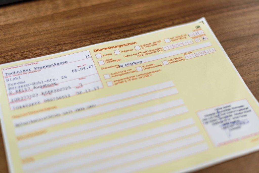 ドイツの健康保険制度 患者紹介状 Überweisung