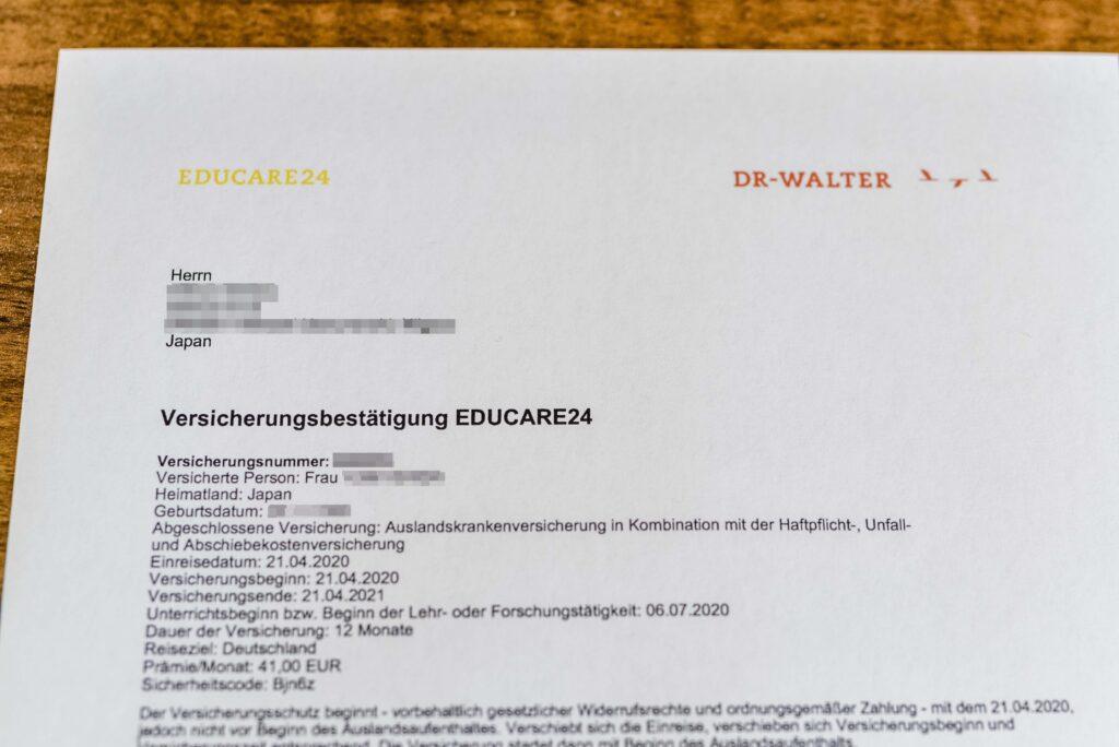ドイツ留学・ワーホリ保険 ドクターヴァルター保険証