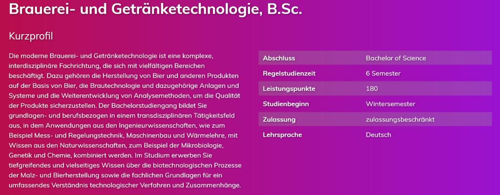 Brauerei- und Getränketechnologie, B.Sc.
