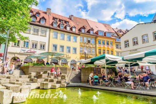 バンベルク 噴水と商店